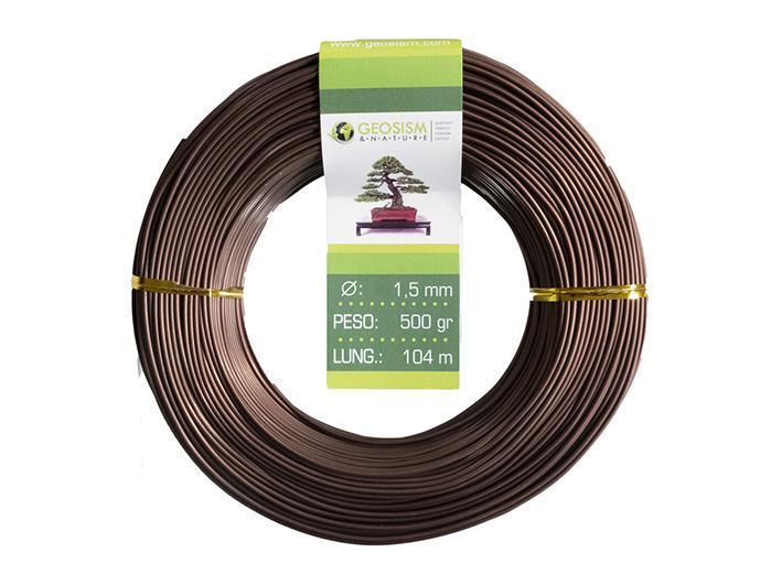 Filo di alluminio ramato (allumino-ramato) Geotools 1,5 mm per bonsai, 500 gr, 104 m