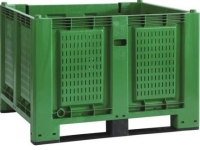 Cargopallet 700 PLUS green with grid walls and 2 runners, 1200x1000xh830
